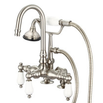 Water Creation F6-0013-02-PL Brushed Nickel Tub Faucet with Handheld and Porcelain Lever