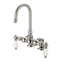 Water Creation F6-0016-05-PL Polished Nickel Bath Tub Faucet with Porcelain Lever Handles