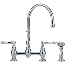 Franke FF6000A Polished Chrome Farm House Bridge High Arch Kitchen Faucet with Side Spray