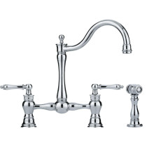 Franke FF7000A Farm House Bridge Two Handle Faucet with Side Spray in Polished Chrome