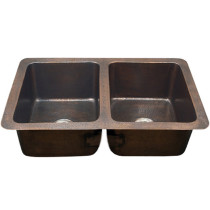 Houzer HW-CHA12 Hammerwerks Series Undermount Copper Double Bowl Kitchen Sink In Antique Copper