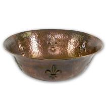 Houzer HW-TEL1V Hammerwerks Series Fleur Di Lis Single Bowl Lavatory Vessel Sink In Antique Copper