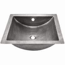 Houzer HW-TETRA15S Hammerwerks Series Pewter Undermount Concave Lavatory Sink