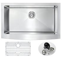 ANZZI K-AZ3620-1A Elysian Farm 36 Inch Single Kitchen Sink In Brushed Satin