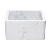 Allstone KF171710-CW 17 x 17 Inch Carrara Marble Farmhouse Kitchen Sink