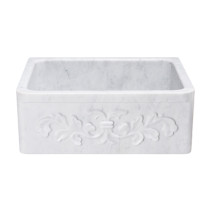 "Allstone KF242010-F2-CW 24"" Floral Farmhouse Kitchen Sink - Carrara Marble"