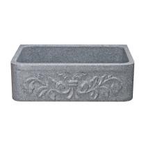 Allstone KF302010SB-F2-M 30 Inch Floral Farm Kitchen Sink -Mercury Granite
