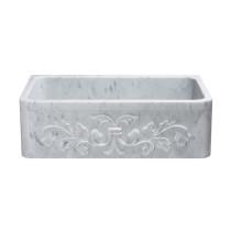 Allstone KF332010SB-F2-CW 33 Inch Floral Farm Kitchen Sink - Carrara Marble
