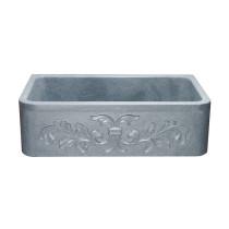 "Allstone KF332010SB-F2-M 33"" Floral Farmhouse Kitchen Sink -Mercury Granite"