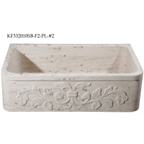 Allstone KF332010SB-F2-PL-#2 Perlina Limestone 33 Inch Kitchen Farm Sink with Floral Pattern