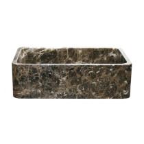 Allstone KF332010SB-NLP-EPD 33 Emperador Dark Marble Farmhouse Kitchen Sink