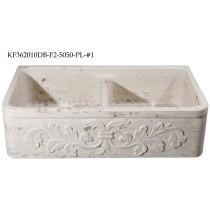 Allstone KF362010DB-F2-5050-PL-#1 Perlina Limestone 36 Inch Stone Farm Sink with Floral Pattern