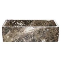 """Allstone KF362010SB-NLP-EPD 36"""" Single Kitchen Sink - Emperador Dark Marble"""