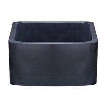 Allstone KFCF171810-BL 17x18 Curved Front Farm Kitchen Sink - Black Lav