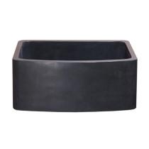 "Allstone KFCF242110-BL 24"" Curved Front Farm Kitchen Sink - Black Lava"