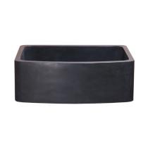 "Allstone KFCF302210SB-NLP-BL 30"" Curved Front Farm Kitchen Sink - Black Lava"