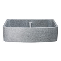 "Allstone KFCF362210DB-NLP-5050-M 36"" Double Farm Sink - Allstone KFCF362210DB-NLP-5050-M 36"" Double Farm Sink - Mercury GraniteMercury Granite"
