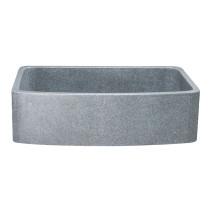 """Allstone KFCF362210SB-NLP-M 36"""" Curved Front Kitchen Sink - Mercury Granite"""