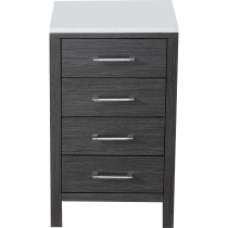 "Virtu KSC-700-S-ZG 18"" Dior Side Cabinet in Zebra grey with Marble Top"