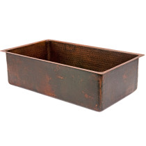 Premier Copper KSDB30199 30 Inch Single Bowl Hammered Copper Kitchen Sink
