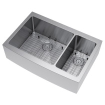 Exclusive Heritage KSH-3622-D7-FBSG Double Farm Sink with Strainer and Grid