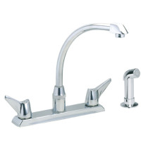 Elkay LKD2443 Chrome Double Lever Handle Kitchen Faucet with Side Spray