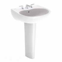 TOTO LPT241G#01 Cotton Supreme® Pedestal Lavatory Sink With Single Faucet Hole