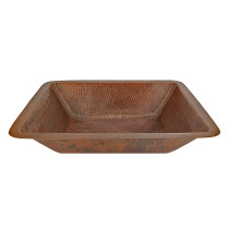 Premier Copper LREC19DB Rectangle Under Counter Hammered Copper Bathroom Sink