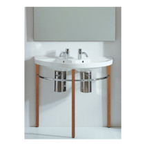 "Whitehaus LU020-LUA6-WHNWO Whitehaus 38"" China White/Natural Wood Double Basin"