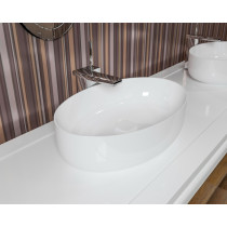 Aquatica Metamorfosi-O-Wht Oval Above Mount Bathroom Sink In White