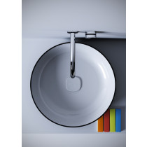 Aquatica Metamorfosi-R-Blck-Wht Round Vessel Sink In Black & White Color