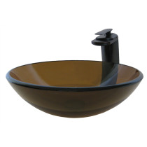 Novatto NSFC-168T057ORB TY Glass Vessel Bathroom Sink - Oil Rubbed Bronze