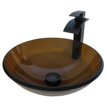 Novatto NSFC-168T136ORB TY Glass Vessel Bathroom Sink - Oil Rubbed Bronze