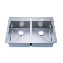 Stufurhome NW-3322DO Overmount Stainless Steel 33 Inch 2-Hole Double Bowl Kitchen Sink