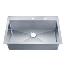 Stufurhome NW-3322SO Overmount Stainless Steel 33 Inch 2-Hole Single Bowl Kitchen Sink