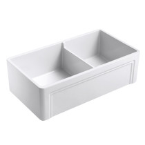 Empire OL33 33 inch Reversible Front Fireclay Double Bowl Farmhouse Kitchen Sink