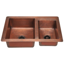 Polaris P109 Double Offset Bowl Hammered Copper Sink