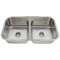 Polaris P215 Low Divide Double Bowl Stainless Steel Sink