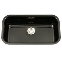 Houzer PCG-3600 BL Porcela Series Undermount Large Single Bowl Kitchen Sink In Black