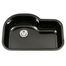 Houzer PCH-3700 BL Porcela Porcelain Undermount Offset Single Bowl Kitchen Sink In Black