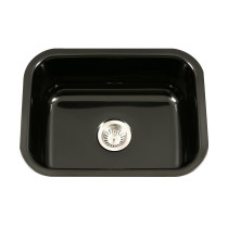 Houzer PCS-2500 BL Porcela Undermount Rectangular Single Bowl Kitchen Sink In Black