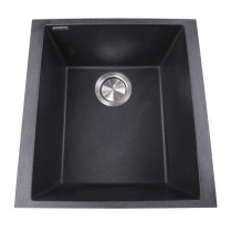 Nantucket Sinks PR1716-BL Single Bowl Undermount Granite Composite Bar-Prep Sink In Black