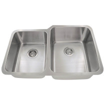 Large Right Bowl  Offset Double Stainless Steel Sink
