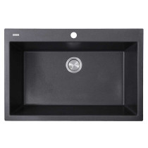 Nantucket Sinks PR3322-DM-BL Dual-mount Granite Composite Sink in Black