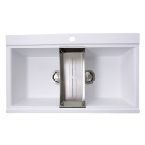 Nantucket Sinks PR3420PS-W Large Double Bowl Prep Station Kitchen Sink