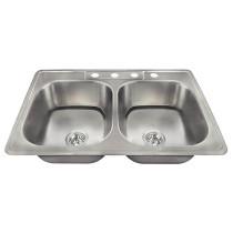 Polaris Sinks PT2201US-ENS 20 Gauge Kitchen Sink and 2 Standard Strainers
