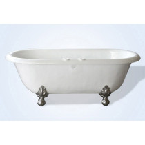 "Restoria RD551-RM White 66"" Double Ended ClawFoot Tub with Faucet Holes"