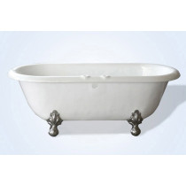 "Restoria RD553-RM 66"" Biscuit Double Ended ClawFoot Tub with Faucet Holes"