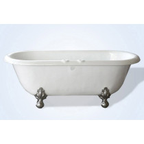 "Restoria RD554-RM 66"" Bone Double Ended ClawFoot Tub with Faucet Holes"