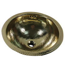 Nantucket Sinks ROB-OF Hand Hammered Brass Round Undermount Bathroom Sink With Overflow